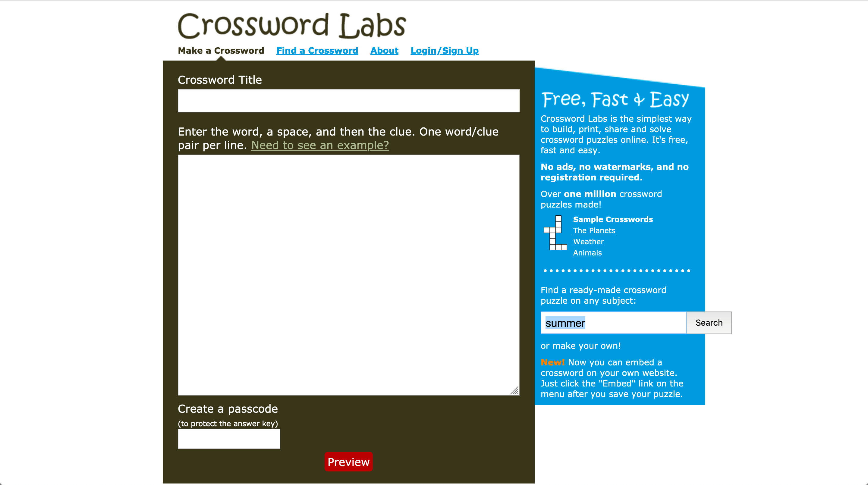 Crossword Puzzle Maker | Screenshot