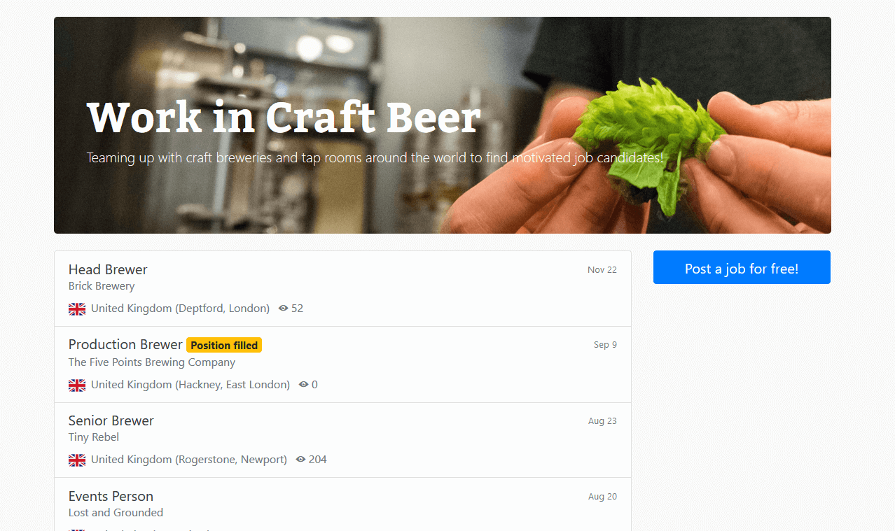 Work in Craft Beer | Screenshot